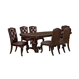 Furniture of America Evangelyn 7-Piece Dining Set with Leather-Like Chairs, Cherry