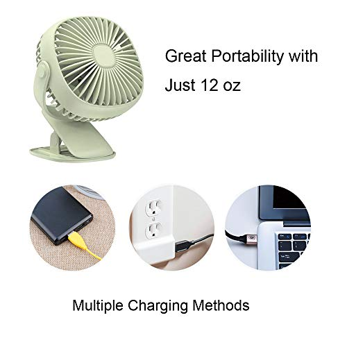 Battery Operated Clip on Stroller Fan with Light- Mini Portable Desk Fan with Rechargeable Battery Powered Fan for Baby Stroller, Outdoor Activities (Green) by GuanZo (Image #5)