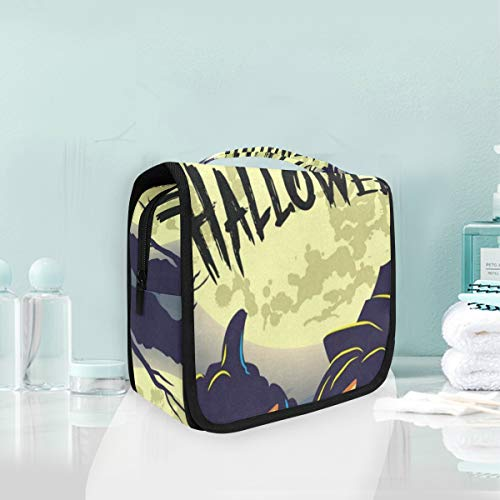 Toiletry Bag Happy Halloween Pumpkins Hanging Travel Toiletry Organizer Kit with Hook and Handle Waterproof Makeup Cosmetic Bag for Men or Women -