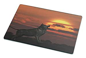 Rikki KnightTM Werewolf at Sunset Large glass Cutting board - Proudly made in the USA