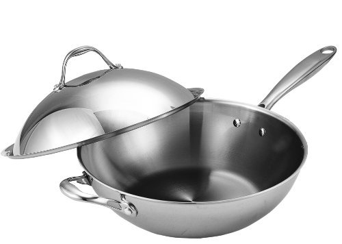 Cooks Standard Multi-Ply Clad Stainless-Steel 13-Inch Wok wi