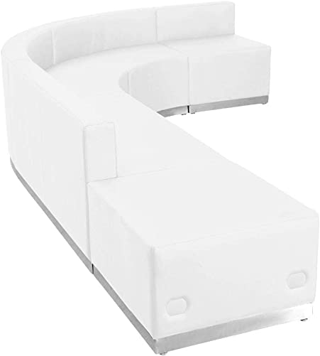 Flash Furniture HERCULES Alon Series White LeatherSoft Reception Configuration, 5 Pieces