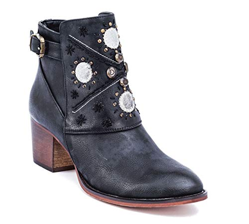 (Gc Shoes Austin Western Ankle Boots - Zip-Up Metal Studded Stacked Heel Boot (9.5 B(M) US, Black))
