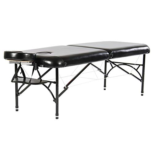 Artechworks 28″ Width Professional 2 Folding Portable Lightweight Massage Table Facial Solon Spa Tattoo Bed With Aluminium Leg(2.56″ Thick Cushion of Foam) Brilliant Black