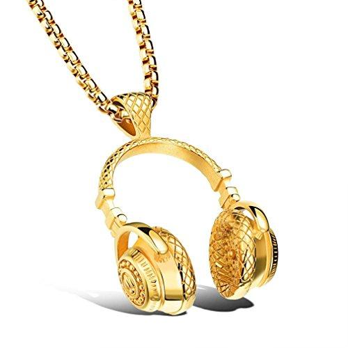 Custom Hip Hop Pendants (Fabal Mens Hip Hop Punk Style Microphone Earphone Pendant Necklace (Gold))