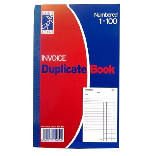 Invoice Duplicate Book - 1 to 100 Numbered Pages - Full Invoice Layout - Size 8.1 x 5 by Office Style