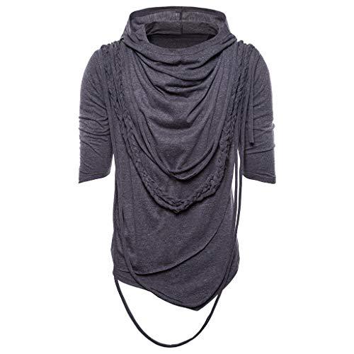 Summer Solid Color Hip Hop Rope Hooded Short Sleeved Shirt Fashion Men Casual Slim Hoodie -