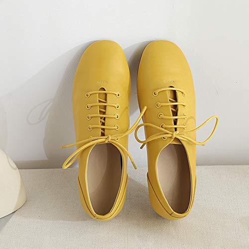 Mujer Tacon Casual Annieshoe Ancho De Cuero Cordones Zapatos Oxford Amarillo Comodos 1aa5q4Zx