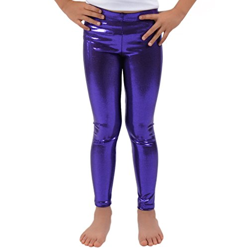 Stretch is Comfort Girl's Metallic Mystique Leggings Purple Medium