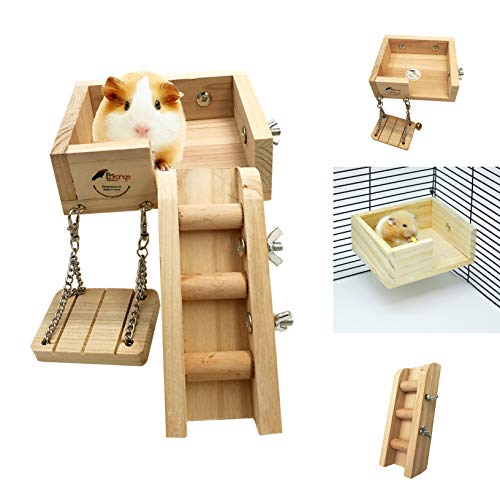 - Borange Hamster Cage Wood Swing, Ladder and Resting Platform Set for Hamster, Mouse Chinchilla, Rat, Gerbil and Dwarf Small Animal Wooden Platform Climbing Kits Cage Accessories