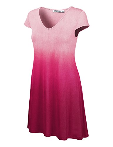 WDR1089 Womens Ombre V Neck Cap Sleeve T Shirt Dress M -