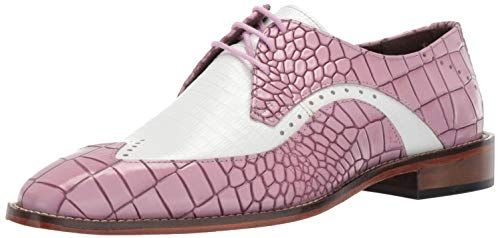 STACY ADAMS Men's Trazino Croco-Lizard Print Wingtip Lace-Up Oxford Lavender Multi 10 M US