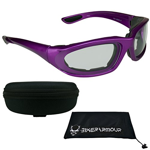 Trans Blue Protective Case - Purple Frame Motorcycle Transitional Sunglasses for Women, Teens and Girls. Alfer Purple Trans CL (w/ Zipper Hard Case)