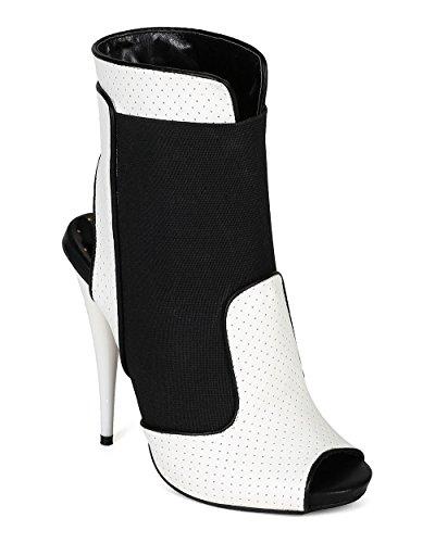 Peep Liliana Ankle Media Stiletto Bootie CA58 Women White Toe Mixed Perforated rHPIOqHx