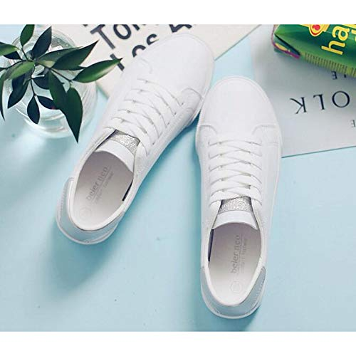 Rosado ZHZNVX Plateado Silver Zapatos Comfort Flat Spring Canvas Heel Verde Fall de Mujer Blanco Sneakers Blanco White Blanco rrOTvq