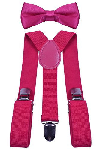 BODY STRENTH Kid's Suspenders Y Back and Bow Tie Set Elastic for Wrdding Party Rose Pink