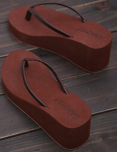 Difyou Vrouwen Sleehak Antislip Strand Sandalen Flip Flops Bruin