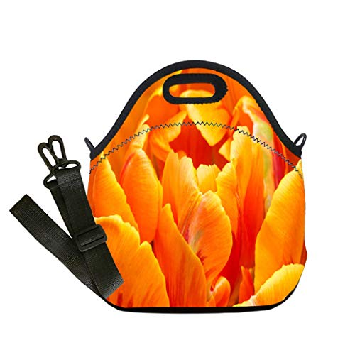 Lunch Box Insulation Lunch Bag Large Cooling Tote Bag Neoprene Insulated Lunch Tote Bag Close up of orange color double early tulip Lunch Bag- Insulated and Reusable Artful Design
