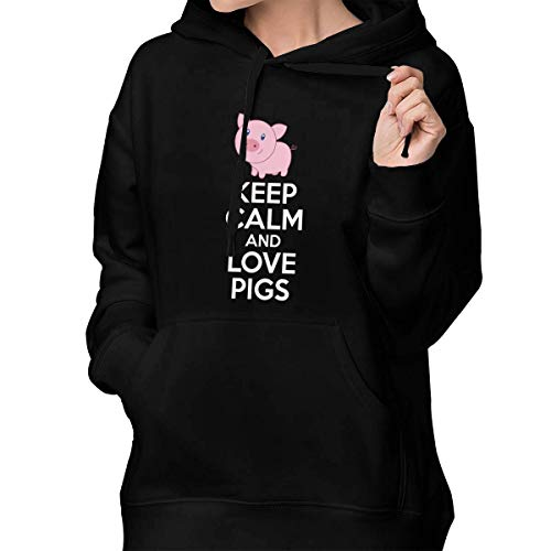 Women's Pullover Hoodie Keep Calm and Love Pigs Hoodie Sweatshirt with Pocket Black -