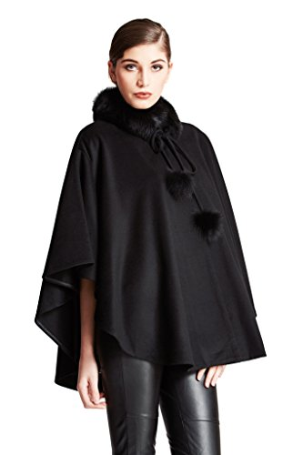 Cashmere Pashmina Group:Cashmere Cape w/genuine Fox Fur Collar & Fox pompom ties (Black)
