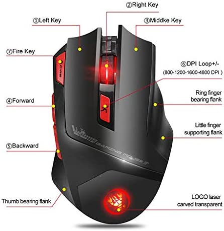 Lyperkin Wireless Mouse Computer 7 Buttons PC Ideal for Notebook 5 DPI Levels Laptop 2.4Ghz Rechargeable Optical Wireless Gaming Mouse LED Backlit Gaming Mouse with USB Nano Receiver Mac ect