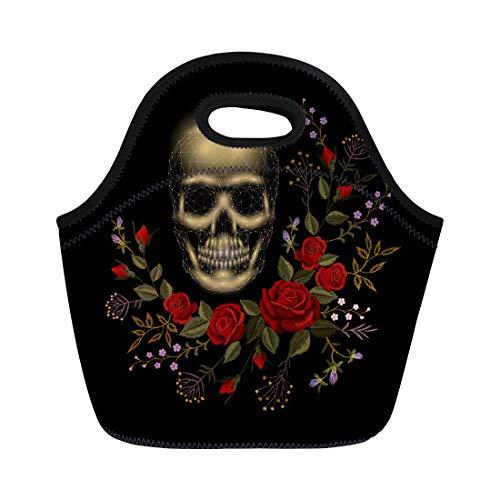 (Semtomn Lunch Bags Vintage Human Skull Bone Flower Red Rose Arrangement Patch Neoprene Lunch Bag Lunchbox Tote Bag Portable Picnic Bag Cooler)