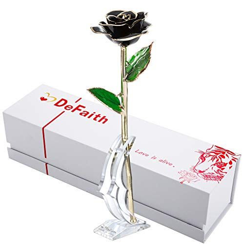 DEFAITH 24K Gold Dipped Real Rose Gifts, Best Wedding Anniversary Valentines Day Love Gift for Her Wife Girlfriend Spouse, Black with Stand (Best Sweetest Day Gifts For Her)