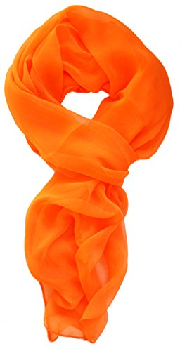 Love Lakeside Modern Chiffon Solid Color Silk Blend Oblong Scarf Orange