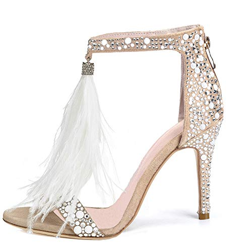 (AZMODO Women's Feather Ankle Strap Zip Rhinestone High Heeled Sandals 1622-74(US 9.5-10/EU 41/CN 42), White)
