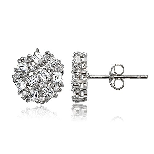 Sterling Silver Baguette and Round-Cut Cubic Zirconia Cluster Round Stud Earrings