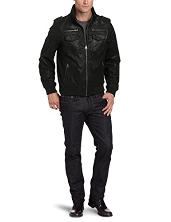 Levi's Men's Leather Military Jacket, Black, Large