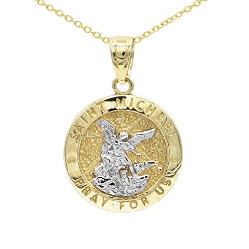 Ice on Fire Jewelry 10k Yellow Gold Two Tone Saint Michael Pendant Necklace with 18
