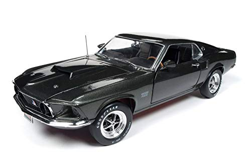 Auto World 1969 Ford Mustang Boss 429 Hard Top, Black Green AMM1152 - 1/18 Scale Diecast Model Toy Car