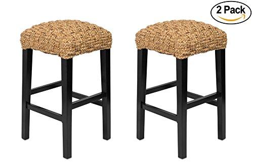 BirdRock Home Backless Barstool Set of 2   Hand-Woven   Dark Brown Mahogany Wood Legs   Kitchen Bar Height   Fully (Mahogany Wicker Chair)