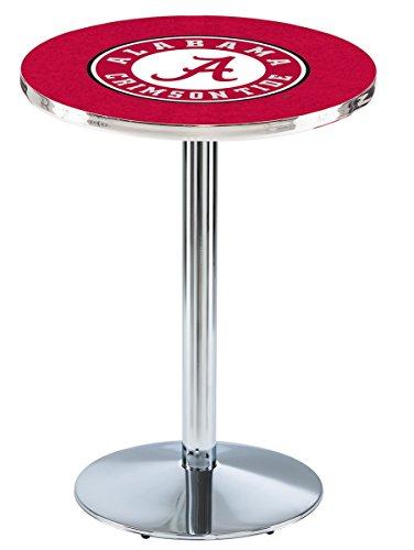 "Holland Bar Stool L214C University of Alabama (Script A) Logo Licensed Pub Table, 28"" x 42"", Chrome"