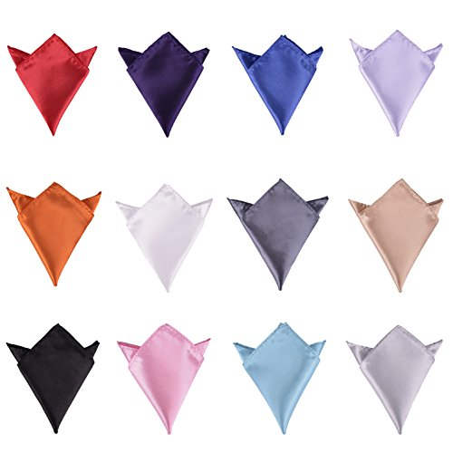 I-MART 12 Pcs Mens Solid Mixed Color Pocket Square Wedding Handkerchiefs (Suit Pocket Handkerchief)