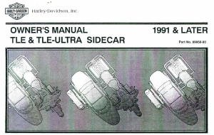 99958-93 1991 Later Harley Davidson RLE TLE Ultra Sidecar Motorcycle Owners Manual (Tle Sidecar)