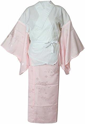 【特典 衿芯付き】 洗える 二部式 長襦袢 ピンク≪掛け衿付き・衣紋抜き付き≫レディース 下着 肌着 二部式襦袢 着物