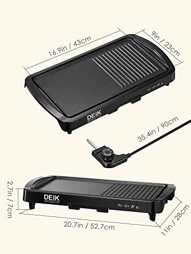 DEIK Plancha, 2 en 1 Plancha Électrique Multifonction avec Thermostat Réglable et Bac Récupérateur de Graisse, Plaque au Revêtement Anti-adhésif, Conçue pour 6 à 8 Personnes, 1800W, 46x26 cm