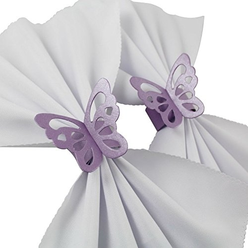 Sorive Pack of 50 Butterfly Paper Napkin Rings For Wedding Party Decoration (Lavender / Lilac / Light Purple) ()