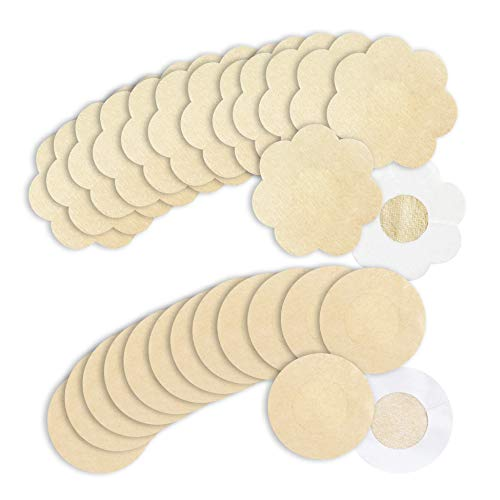 (20 Pairs Pasties,Sexy Breast Pasties for Women Adhesive Cover Disposable Nipple Covers(Round/Petal Tops))