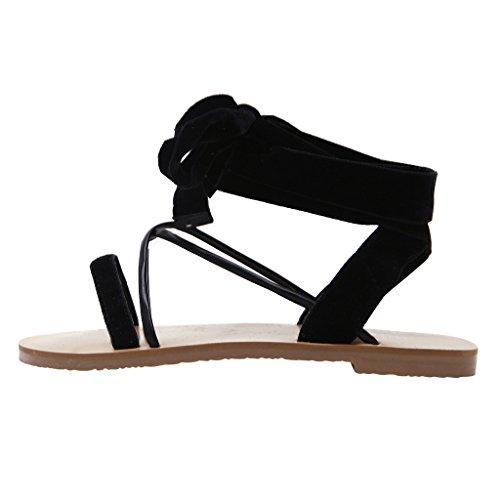 Caro Tempo Pantofole In Velluto Da Donna Avvolgenti Sandali Gladiatore Piatti Neri