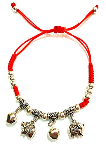 RED STRING BRACELETS With Feng Shui Elephant Charms For Good Luck & Evil Eye Protection Adjustable