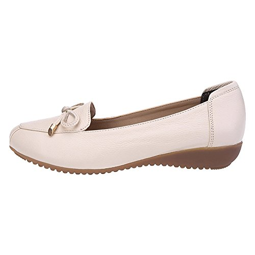 Heel Hollowed Genuine Wedge Slippers Jamron Loafer Women Breathable Leather Out Moccasins Summer Beige Comfort 6w8APq