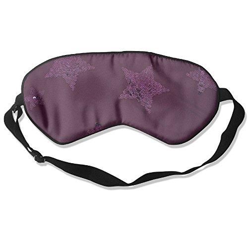 JHXZML Purple Star Sequin Embellished Silk Sleep Mask & Blindfold With Adjustable Strap