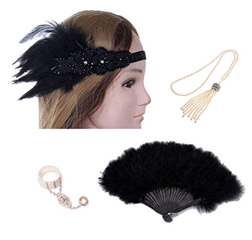 Charm.L Grace 1920s Womens Accessories Set Feather Headband Necklace Bracelet Fan Holder Flapper Costume]()