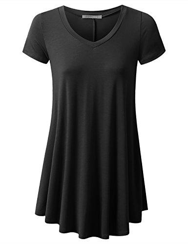 URBANCLEO Womens V-Neck Elong Tunic Top Mini T-Shirt Dress Black 2XLARGE