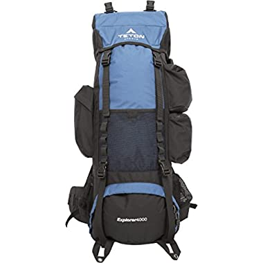 TETON Sports Explorer 4000 Internal Frame Backpack; Great Backpacking Gear; Backpack for Men and Women; Hiking Backpacks for Camping and Hunting; Navy Blue