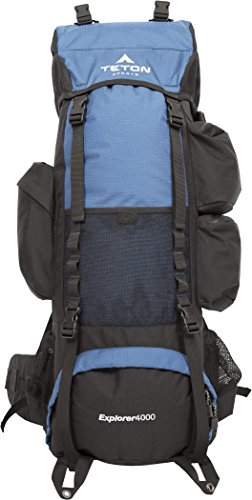 Teton Sports Explorer 4000 Internal Frame Backpack – Not Your Basic Backpack; High-Performance Backpack for Backpacking, Hiking, Camping; Sewn-in Rain Cover; Navy Blue