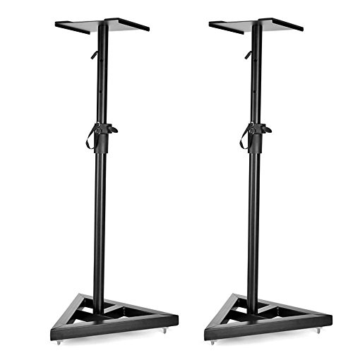 Flexzion Speaker Stand Floor Standing Mount with Triangle Base Height Adjustable (39